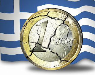 Photo of a Euro, over a Greek flag