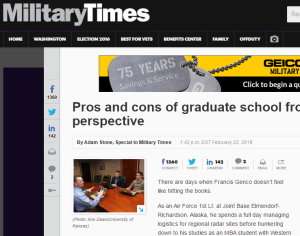 A Military Times article discussed graduate degrees for veterans.