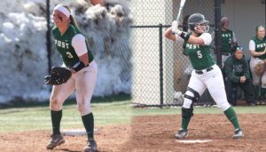 Kayla Kresley and Erica Ragazzone Post University softball