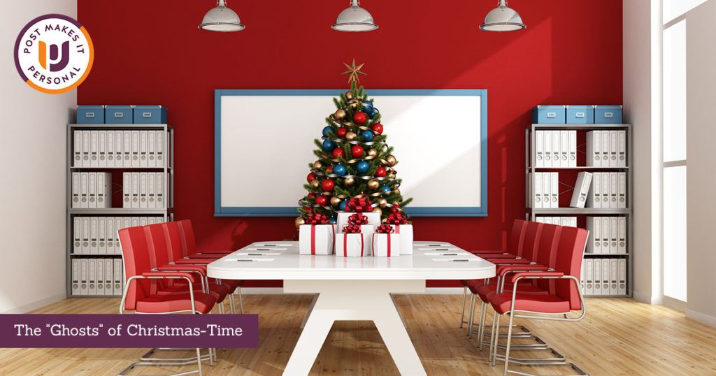 empty conference room with Christmas decorations