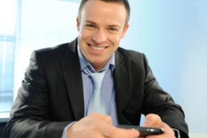 Man using phone for social media