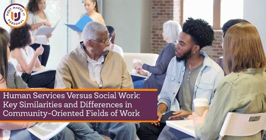 young black speaking with older black man in a group setting