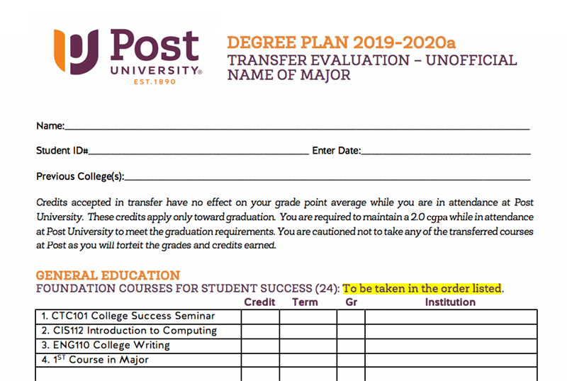 Screenshot of a Degree Plan Document
