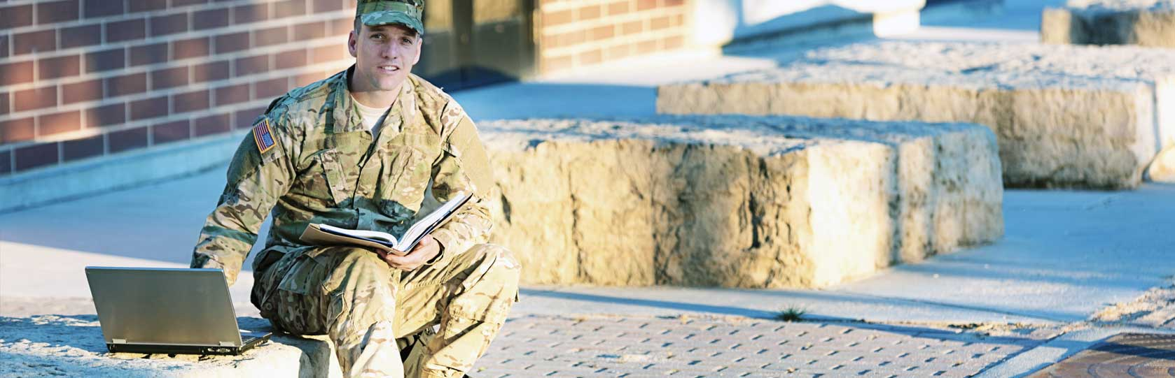 Military Student with Laptop