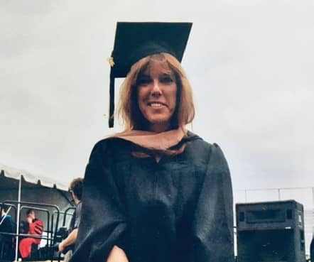 throwback photo of joan in cap and gown