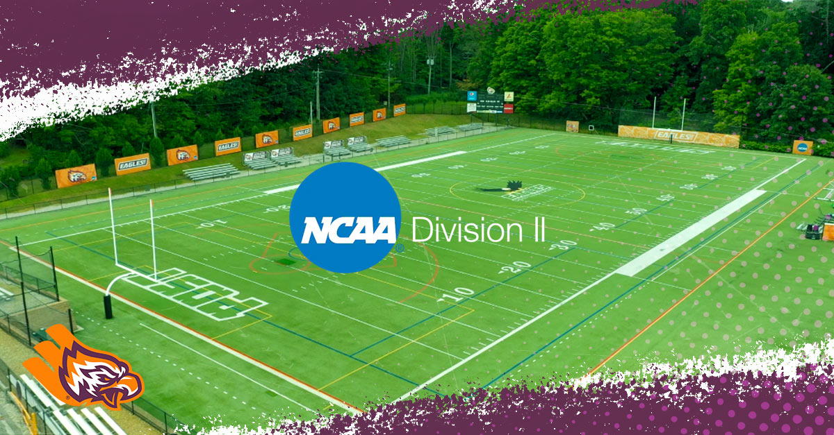 Football field and NCAA Division 2 logo