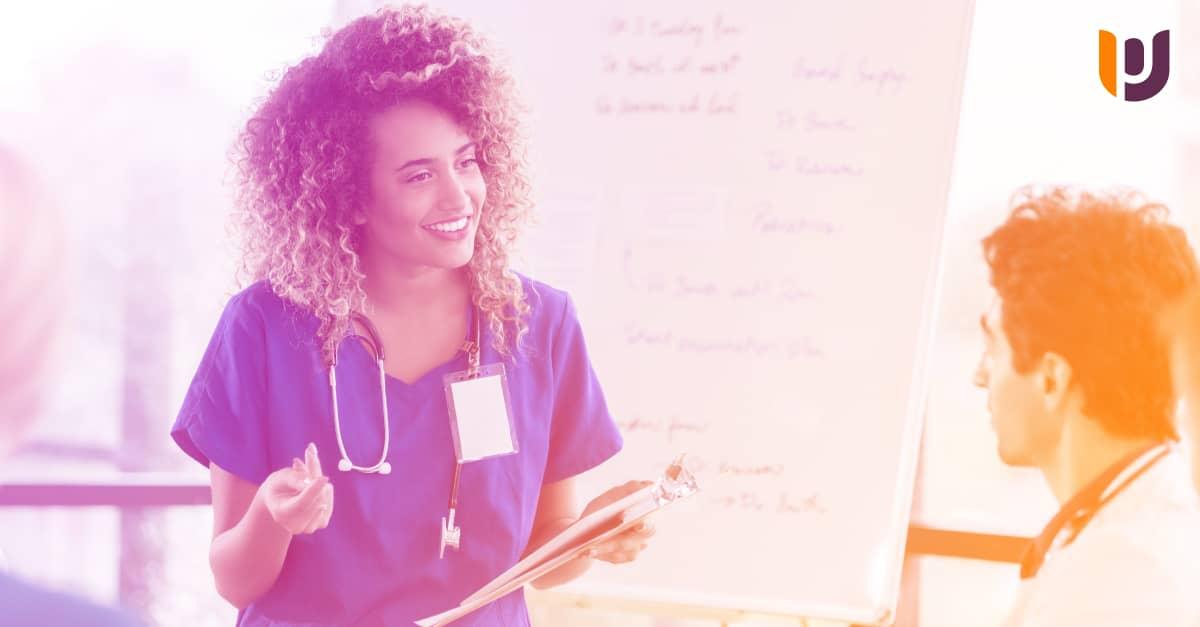 nursing leader in scrubs